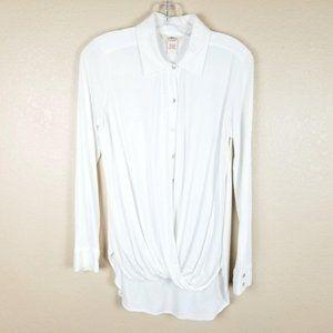 SUNDANCE Twist Hem Button Front Shirt Mother of Pe
